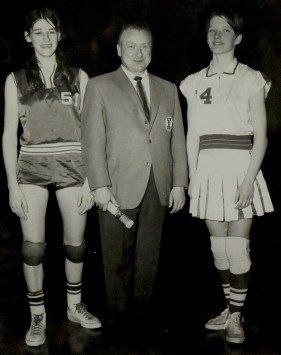 "Denise Long, E. Wayne Cooley and Jeannette Olson pose for a photo at ""The Dream Game"" at Veterans Memorial Auditorium in Des Moines in 1968. Photo courtesy of the Iowa Girls High School Athletic Union"