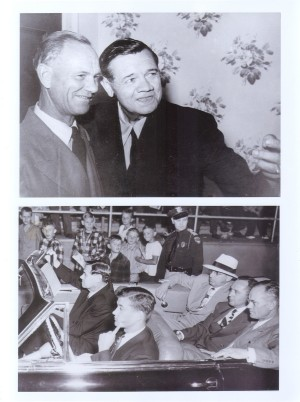 (Top photo) Babe Ruth is shown with Spencer businessman and baseball fan John Hart on Babe Ruth Day in 1948 in Clay County. (Bottom photo) The Babe rides in an open car as he heads to the Clay County Fairgrounds where thousands of fans await his appearance.