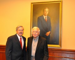 Govs. Terry Branstad and Robert Ray at the dedication of the Robert Ray Conference Room in September 2012.