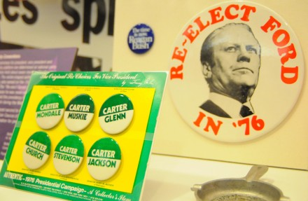 Political buttons are a popular way to show support for a candidate. Photo by Michael Swanger