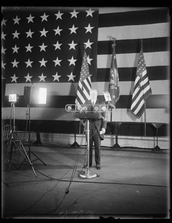 President Herbert Hoover presents his Armistice Day address at the American Legion Exercises in Washington, D.C., on Nov. 11, 1929. His message was relayed by radio through the United States and Europe. Courtesy of the Library of Congress, LC-DIG-hec-35570.