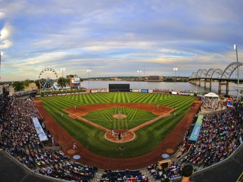 Modern Woodmen Park in Davenport is one of the most picturesque minor league baseball parks in the United States. Built in 1931, it is also steeped in history.  Photo courtesy of Travel Iowa
