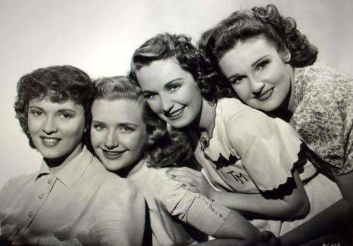 "Gale Page (far left) co-starred with three of the four Lane Sisters — Priscilla, Rosemary and Lola — in the 1939 movie ""Daughters Courageous."" Their sister, Leota Lane also was an actress. Photo courtesy of Mark Felton Lane Sisters Collection at Simpson College Archives"
