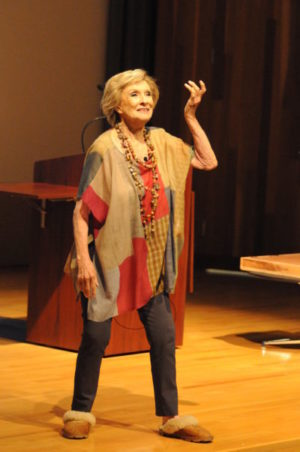 "Legendary actress and Des Moines native Cloris Leachman returned to her hometown for four events Aug. 27-28, including ""Hollywood Backstories"" at the State Historical Museum of Iowa on Aug. 27, where she demonstrated her famous comedic wit onstage in front of a packed theater audience, pressed her handprints into a cement tile and answered questions about her career and life in Des Moines. Photo by Michael Swanger/Iowa History Journal"