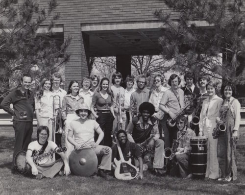 Robert Weast founded the Drake Jazz Band in 1969. He is pictured, far left, with the Drake Jazz Band outside of Harmon Fine Arts Center in 1974. Photo courtesy of Robert Weast