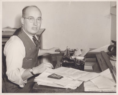 Paul Morrison, pictured at work in Drake University's news bureau, in 1946. Photo courtesy of Paul Morrison