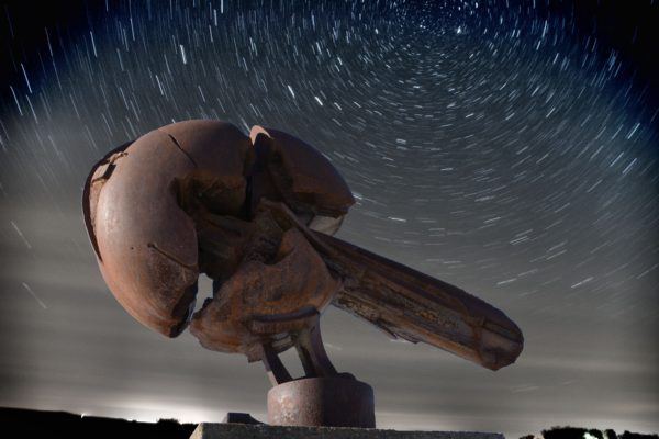 A sculpture of the meteorite that fell just north of Estherville in 1879 can be found at the Estherville Meteorite Center. Created by Tom Gibbs of Dubuque, it represents the meteor breaking into three pieces and is a popular tourist attraction. Photos courtesy of Camden Photography in Estherville